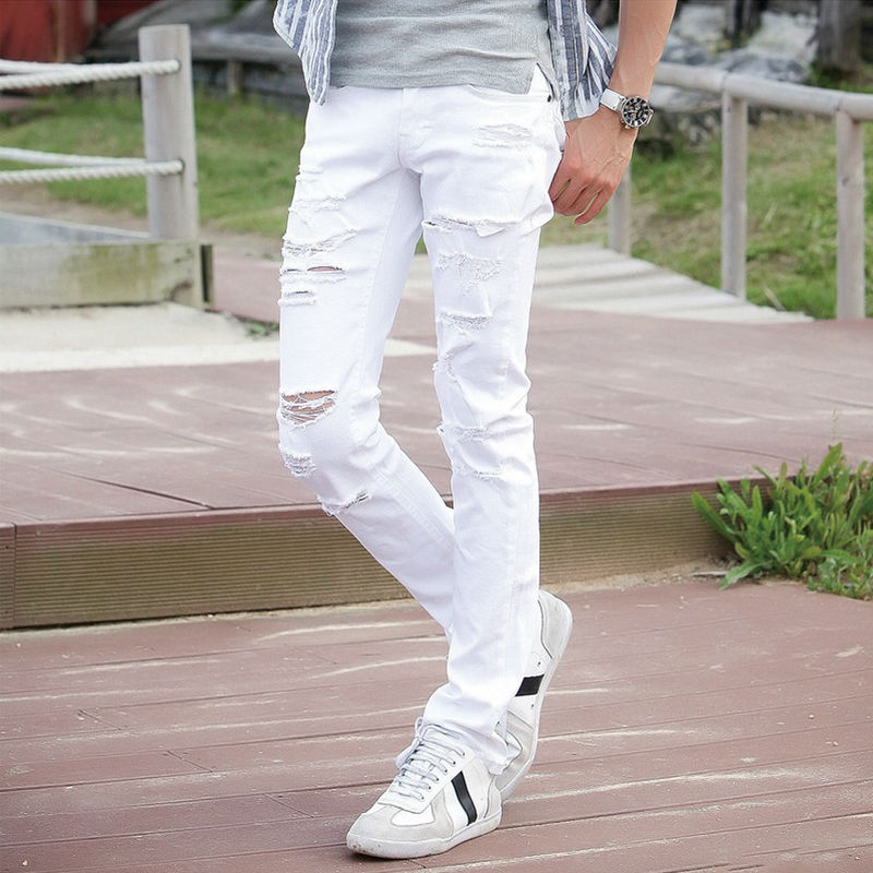 Hot Sell White Ripped Jeans Men With Holes Super Skinny Famous Designer Brand Slim Fit Destroyed Torn Jean Pants For Male AY992 2016 italy famous men s jeans new brand men slim fit jeans trousers wear white ripped skinny ripped denim jeans for men