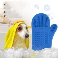 Pet silicone bath brush gloves Teddy five fingers to hair removal brush cleaning supplies dog bath massage brush