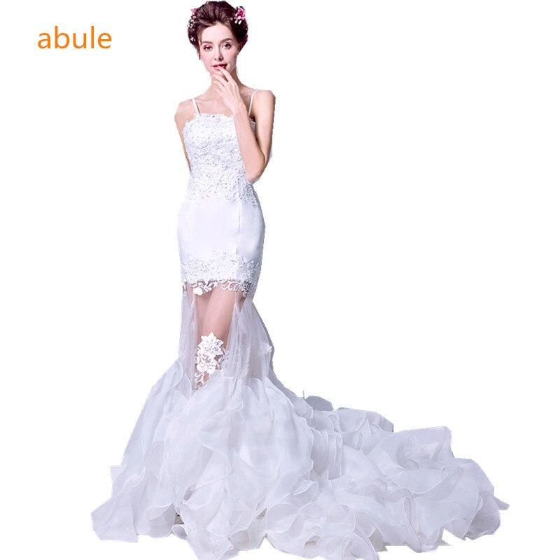 Meerjungfrau Hochzeit Kleid Braut brautkleid einfache gericht Zug ...