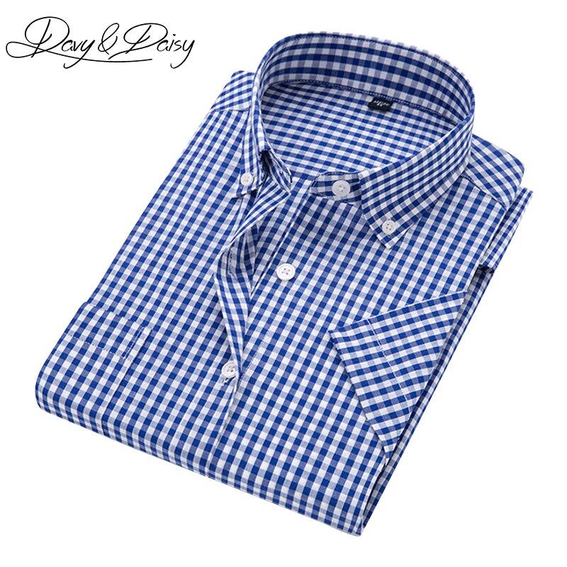 DAVYDAISY Brand Casual Plaid Shirt Men Summer Social Dress Plaid Short Sleeve Shirt Male High Quality Camisas 9 Colors DS-184