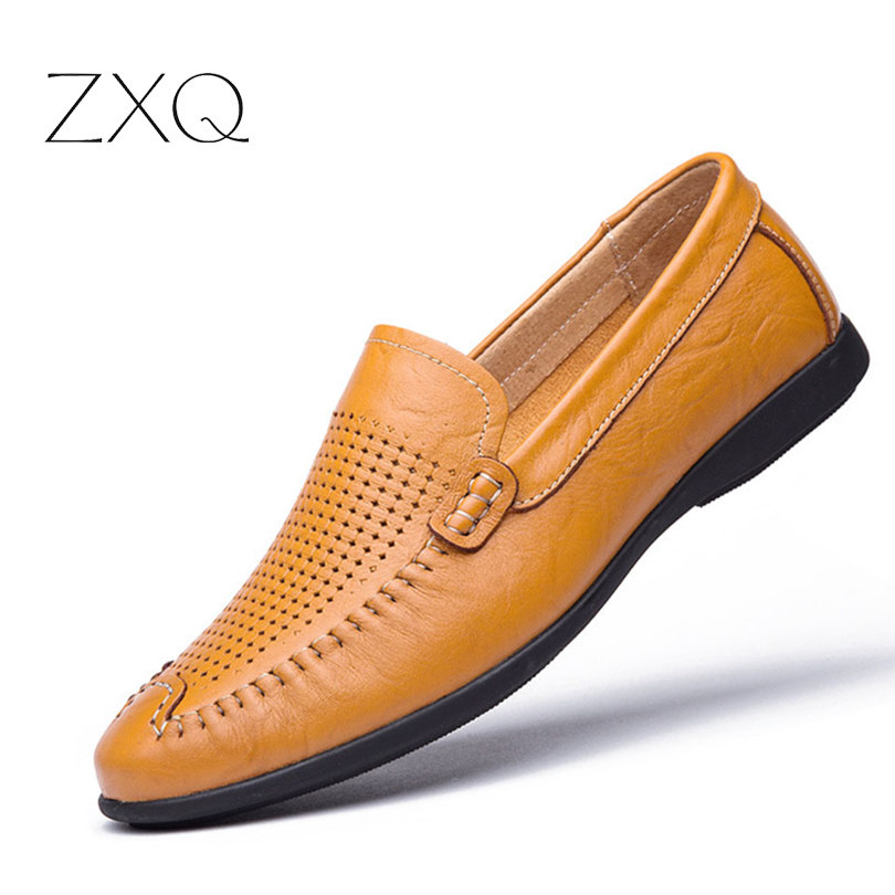 New 2017 Men Genuine Leather Loafers Summer Casual Shoes Men Moccasins Breathable Driving Shoes Size 38-46 genuine leather men casual shoes summer loafers breathable soft driving men s handmade chaussure homme net surface party loafers