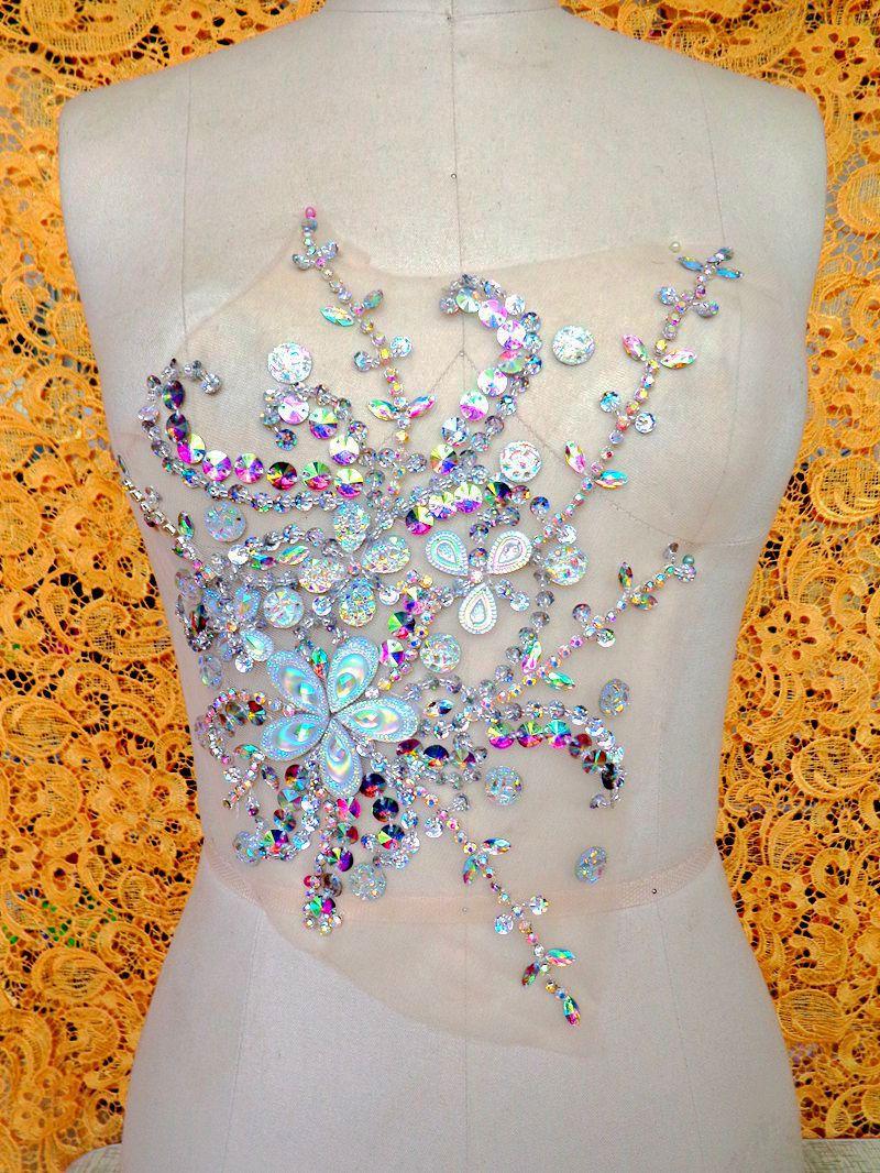 Main effacer AB couleur coudre sur Strass applique correctifs de cristal  avec des pierres paillettes perles 28 22 cm 0c73f5eff76