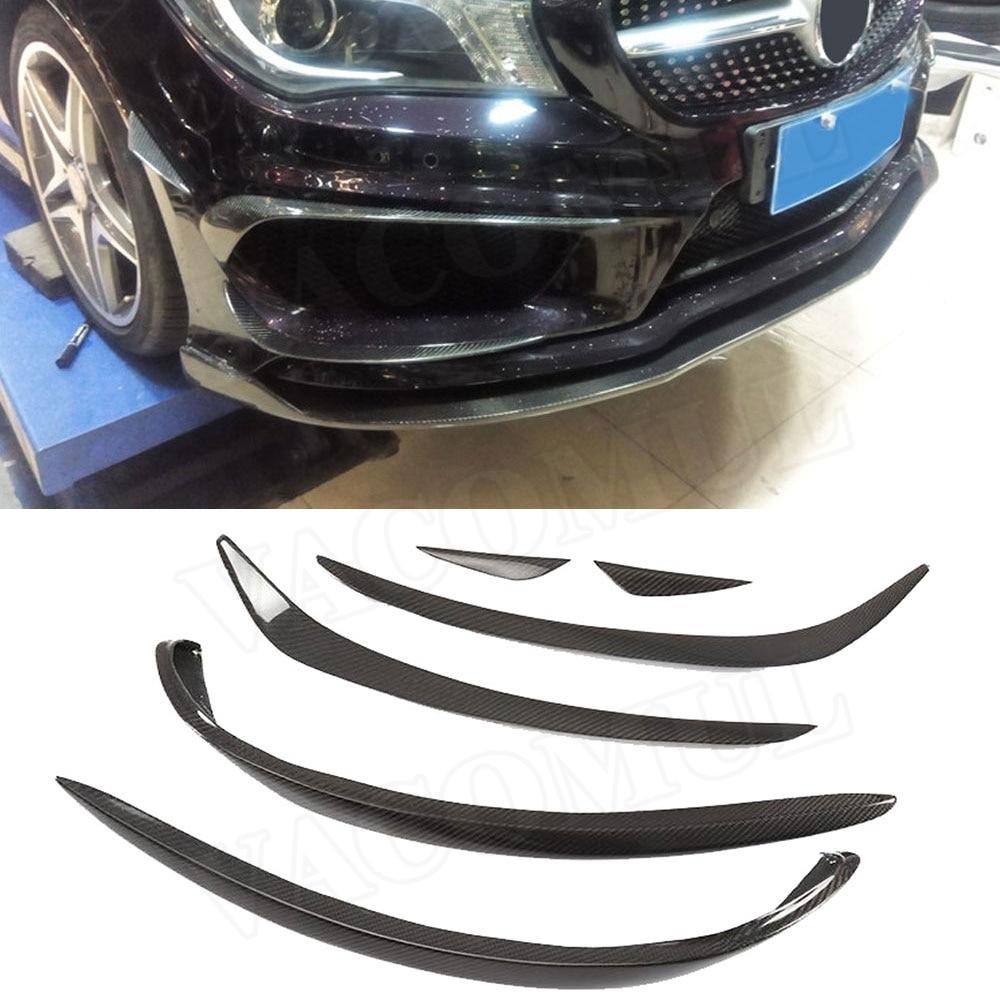 6PCS/Set Carbon Fiber Front Fog Lamp Cover Trim Frame For Mercedes Benz CLA Class W117 C117 CLA200 CLA220 2017 2018 Car Styling