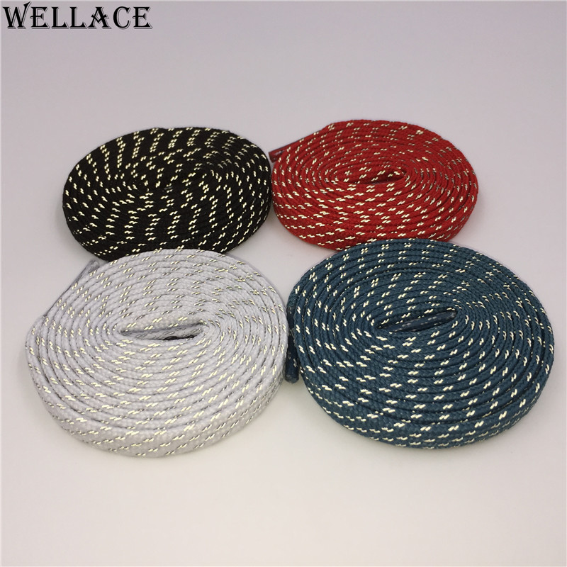 (30 pairs/Lot)Wellace 3M flat reflective laces black shoelaces sport shoe laces custom design shoelaces wholesale 0.7cm width