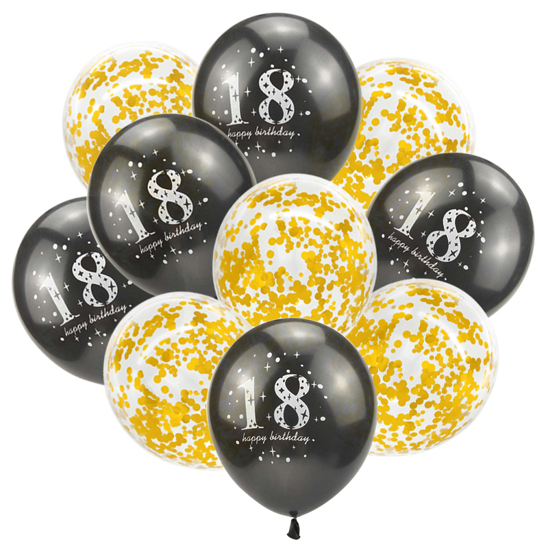 10pcs Happy <font><b>18th</b></font> <font><b>Birthday</b></font> Confetti Balloon Set Girl Boy 18 Years Old Pink Gold Black Latex Balloon <font><b>Birthday</b></font> Party <font><b>Decor</b></font> Globos image