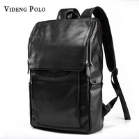VIDENG POLO Large Capacity Mens PU Leather Backpack For Travel Casual Men Daypacks Leather Travle Breathable