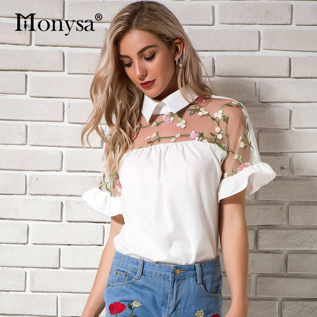 White Chiffon Blouses For Women 2018 Summer New Arrivals Short Sleeve Floral Embroidery Shirts Ladies Peter pan Collar Tops