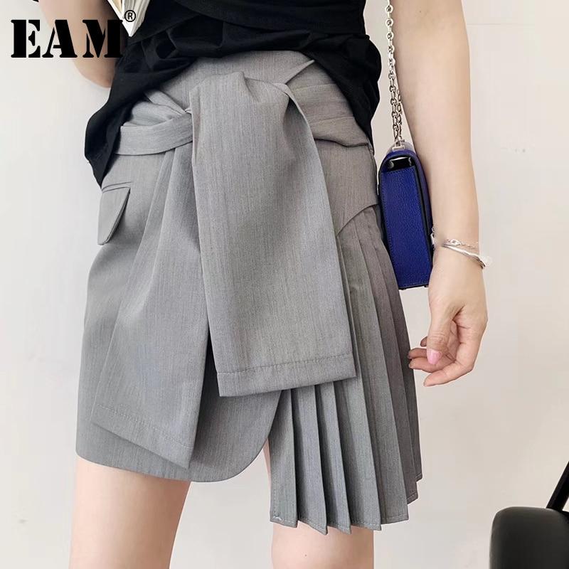 EAM 2019 New Spring Summer High Elastic Waist Gray Pleated Split Joint Bandage Half body