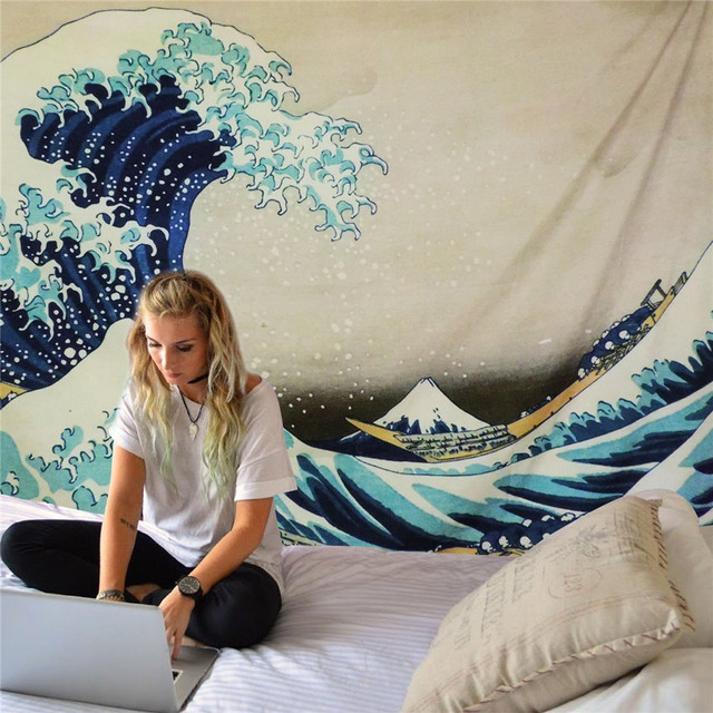 Japanese Style Great Wave Wall Tapestry 3