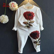 Детские худи с пайетками и длинными рукавами для принцессы; весенне-осенние штаны с цветочным принтом для маленьких девочек; повседневные модные комплекты одежды для детей