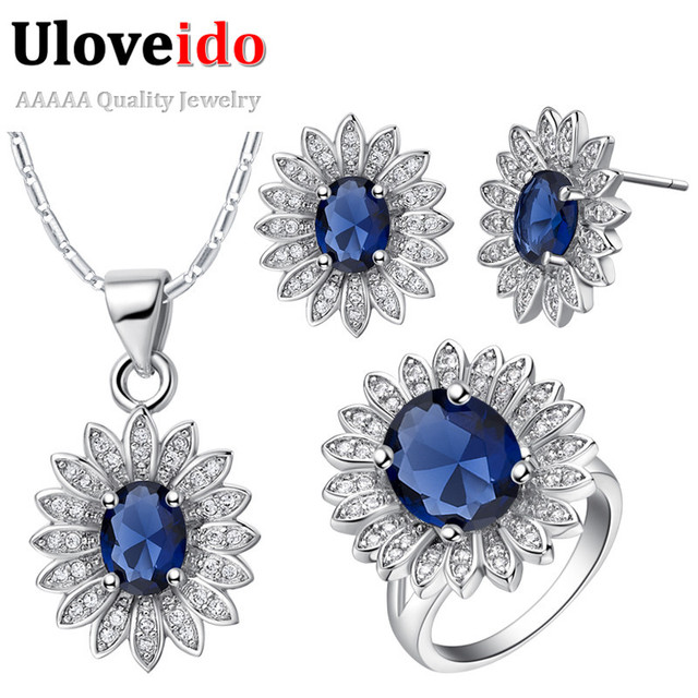 50% off Crystal Jewelry Set with Silver Plated Vintage Necklace and Rings and Earrings Rhinestone Accessories for Women T514