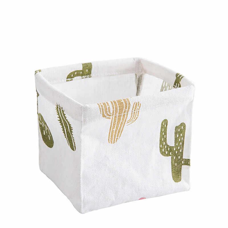 ISHOWTIENDA 11x11X9 cm Brinquedo Do Armário Caixa De Armazenamento Dobrável Organizador Recipiente Caixa de Tecido Cesta de Armazenamento de Desktop Em Casa sacos cesta