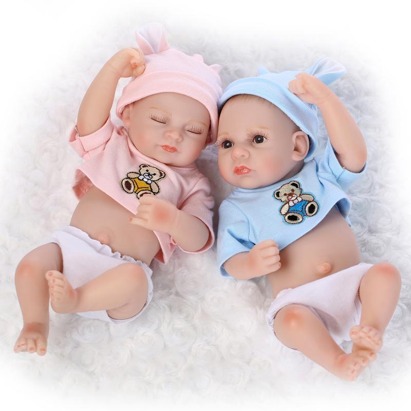 2PCS 11/'/' Waterproof Reborn Twins Dolls Boy Girl Full Body Silicone Baby Doll US
