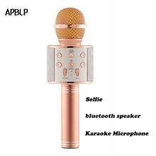 Apblp оригинальные модные WS858 Bluetooth Беспроводной конденсаторный волшебный микрофон караоке мобильного телефона Player MIC Динамик записи музыки