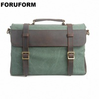 15 Inch Laptop Genuine Leather Canvas Bag New Vintage Men Messenger Bags Crossbody Bag Men Crazy