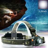 High QualityCREE Q5 LED 2000LM Motion Sensing Headlamp Headlight Light Infrared Sensors camping, backpacking home repairing