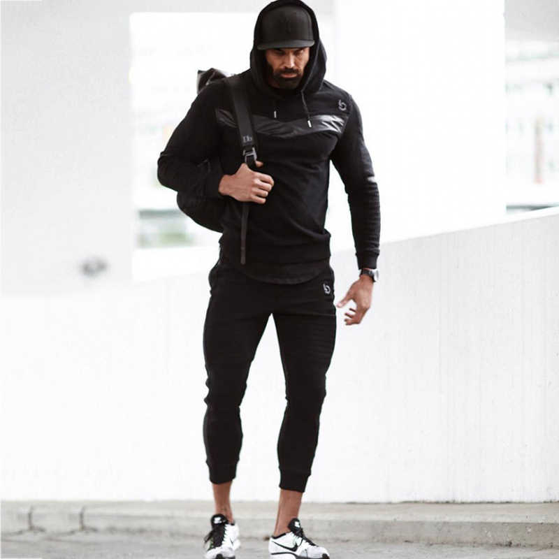 Trainingspak Jogger Sport Man Herfst Winter Running Gym Sport Pak Heren Sets Fitness Bodybuilding Mannen Hoodie + Broek Mannen Kleding set