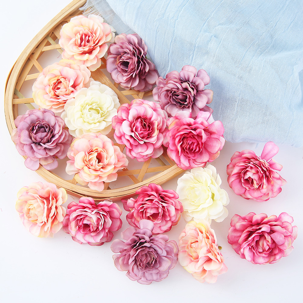 10pcs/lot Artificial Flowers Silk Rose Head Wedding Decorations For Home Bride Bouquet title=