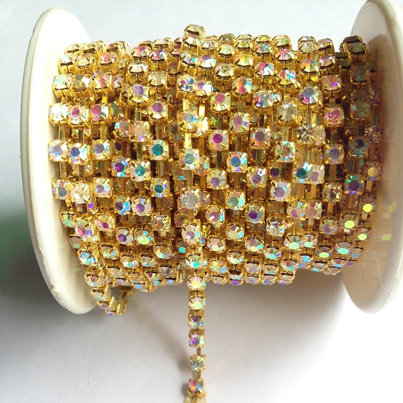 10 meter / roll kristal ab rantai SS6 ke SS38 asas emas gaya baru DIY kecantikan rhinestone aksesori rantaian