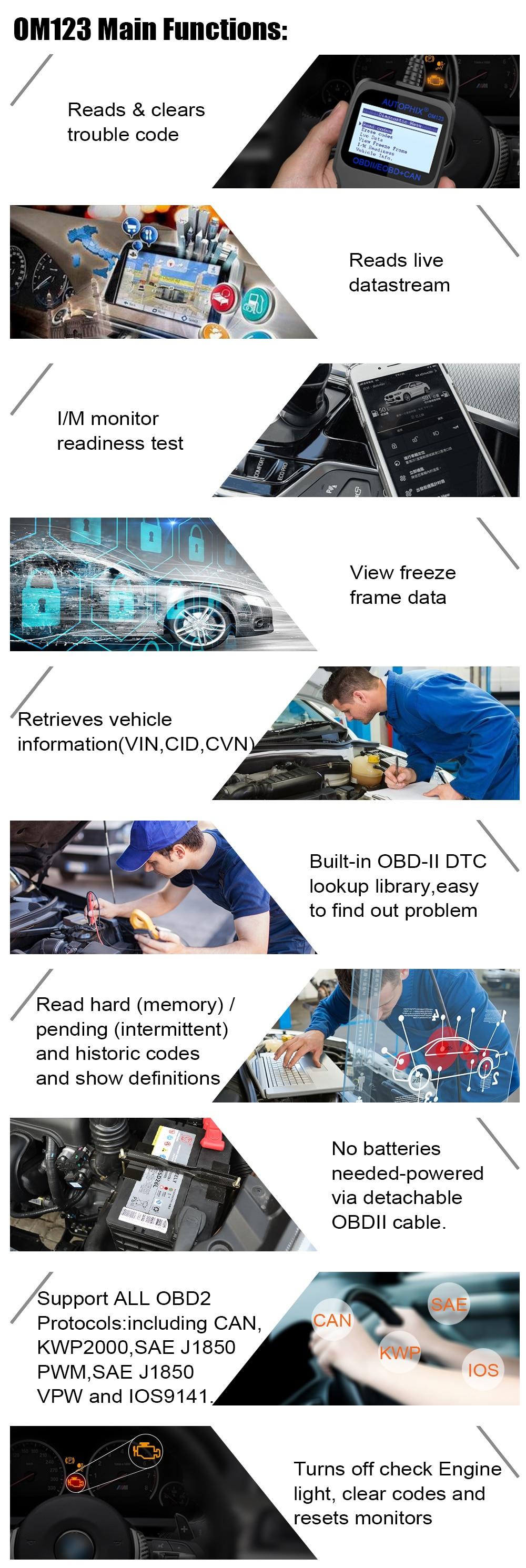 US $20 83 25% OFF|Autophix OM123 OBD2 Scanner Car Diagnostic Tool OBD 2  Automotive Scanner ODB Code Reader PK ELM327 1 5 CR3001-in Code Readers &  Scan