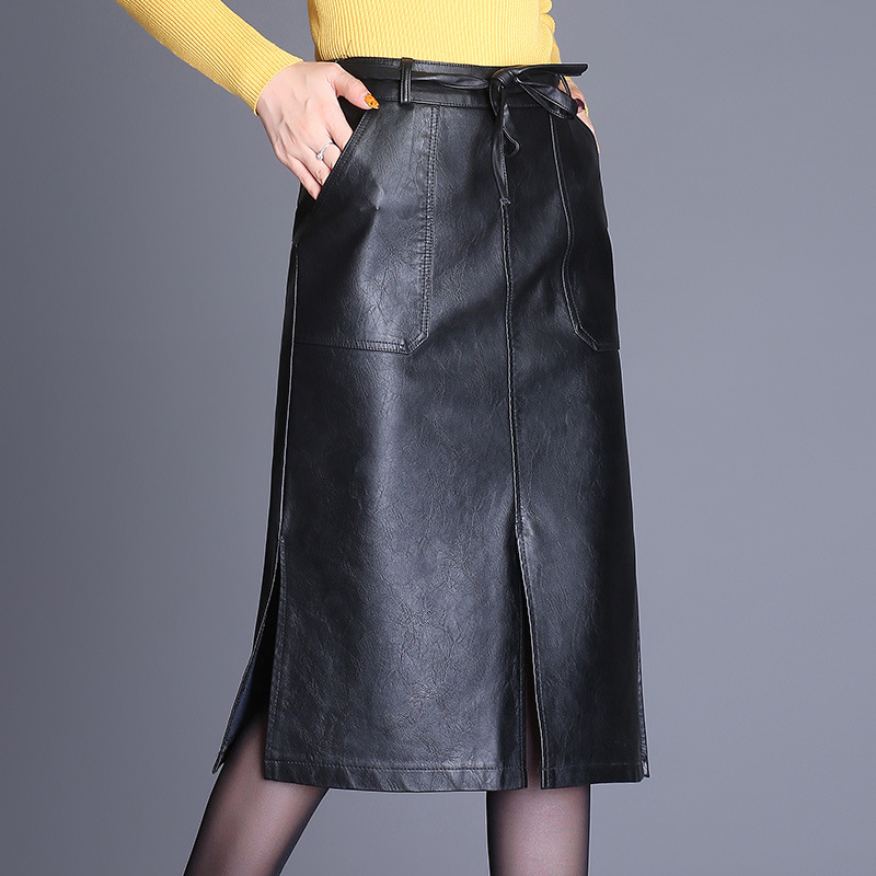 skirt PU 2017 new high waist big yards open fur leather skirt autumn winter long paragraph black package hip a word long 33197