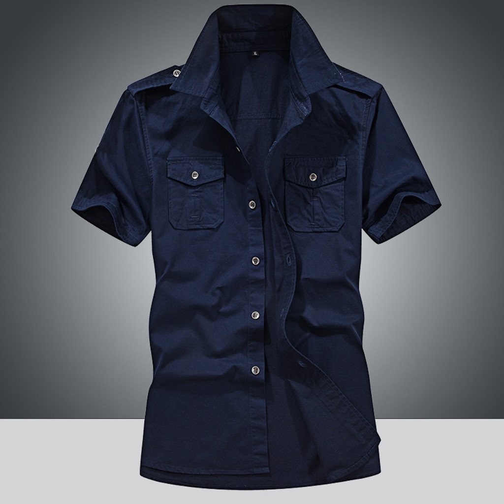 Summer Shirt Short-Sleeve Loose-Top Military Cotton Fashion Spring Pure-Color Pocket
