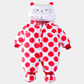 2016 Novo Bonito do Bebê Romper Do Bebê Recém-nascido Inverno Quente Flanela de Algodão Do Bebê Dos Desenhos Animados Olá Kitty Roupas Da Menina Da Criança Crianças Macacão