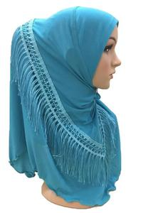 Image 4 - One Piece Amira Hijab Tassel Scarf Muslim Hijabs Women Headscarf Fringe Shawl Wrap Islamic Turban Full Cover Cap Niquabs Hijab