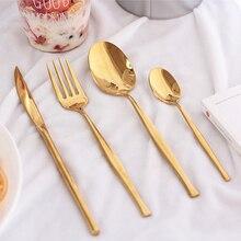 KuBac Hommi 24Pcs Stainless Steel Yellow Gold Dinnerware Cutlery Fork Knife Scoop Tableware Set Gift