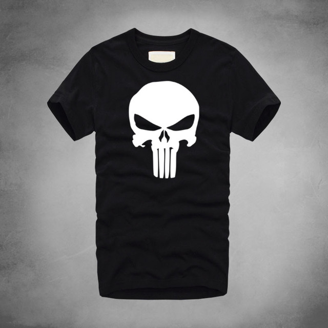 aef771b0f 1 Punisher Logo Print Marvel Movie T-Shirt 100% Cotton Men Cool Soft T-Shirts  Fitting Work out Strong Tee Skull Summer Tshirt
