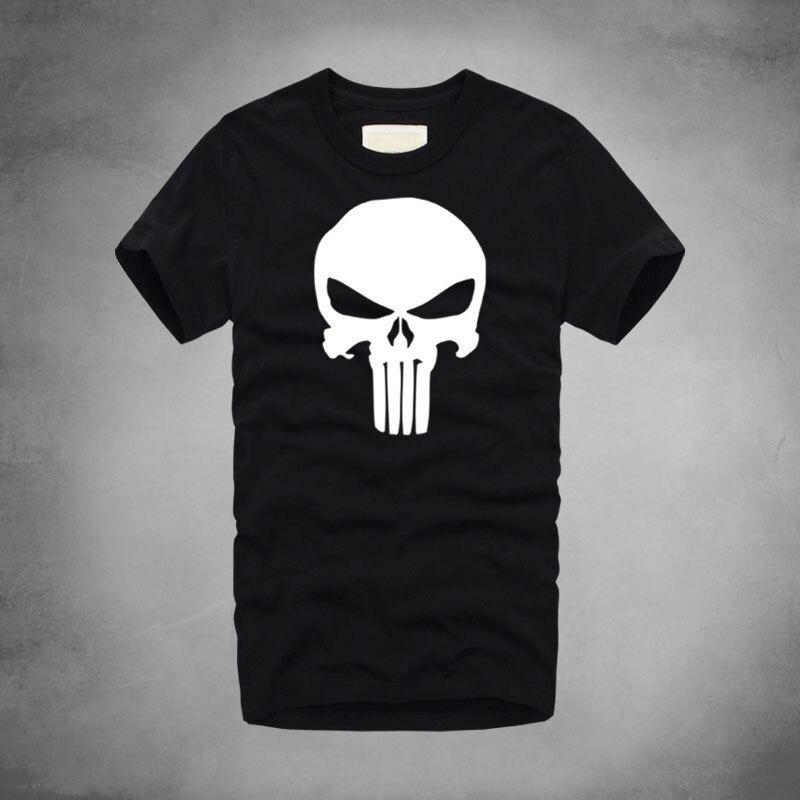 1 Punisher Logo impresión Marvel película Camiseta 100% algodón hombres suave fresco T-Shirts Fitting trabajo fuerte camiseta del cráneo del verano camiseta