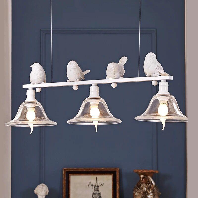 Nordic Modern Resin Bird 3 Light Pendant Light Kit   3 Light Glass Lampshade E27 Pendant Lamp Home Decor for Dining Living Room|Pendant Lights| |  - title=