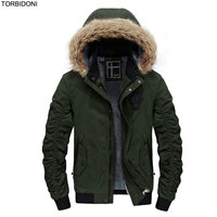 New Winter Jacket Men Faux Fur Hat Fashion Design Embroidery Logo Brand Parka Men Jaqueta Clothing Zipper Coat Male With Pockets