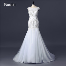 Real Made Scoop Mermaid Wedding Dresses Sexy Bridal Gown Tulle Appliques Beaded Vestido de Noiva Wedding Gown 2017 FW80