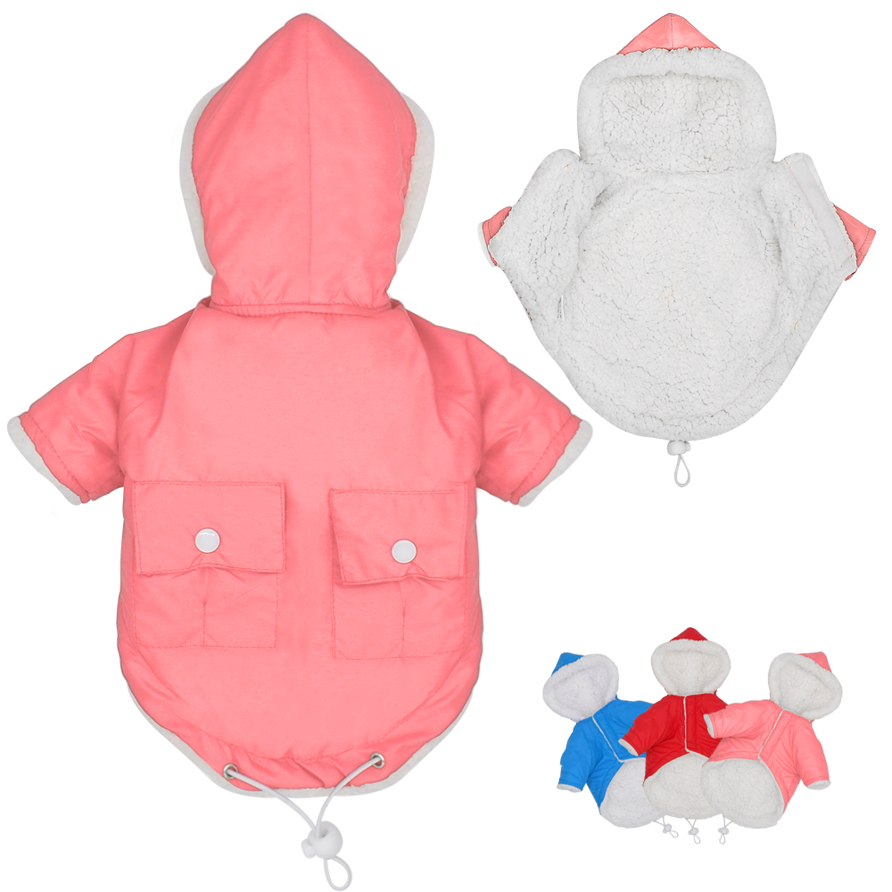 Winter Dog Clothes Puppy Pet Waterproof Warm Coat Hooded Chihuahua Clothing with Pocket For Small Medium Large Dogs S-XL