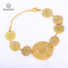Retro style Girls copper Plated Gold Silver Bracelet cuff Chain Flowers Leaves spherical Hole Bracelet Watch Jewellery Presents