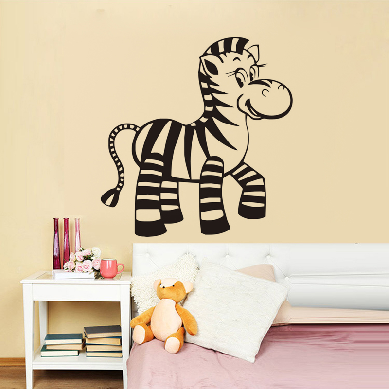 US $4.25 24% OFF|Cute Baby Zebra Wall Stickers For Kids Bedroom Animal  Vinyl Sticker Nursery Wall Decor Removable Adhesive Murals For Wall-in Wall  ...