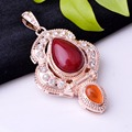 Fashion Rose Gold Plated Hand-inlaid Jade Gem Pendant Christmas Long Sweater Pendant Necklace (Sent Necklace) P5014-1