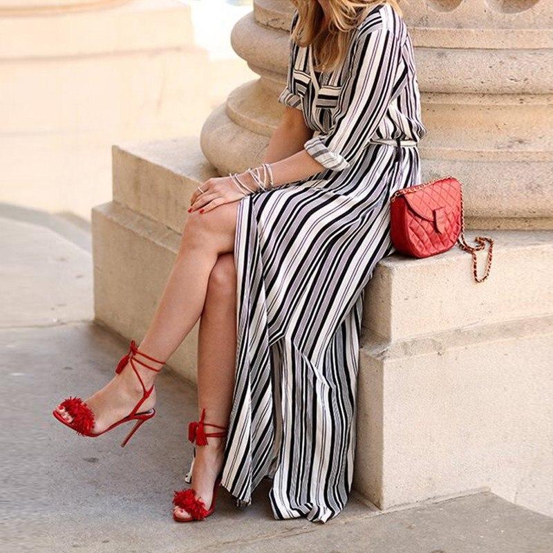 黒と白のシャツドレスロングエレガントなマキシパーティードレスハイスプリットセクシーなマキシネクタイウエストチュニックドレス