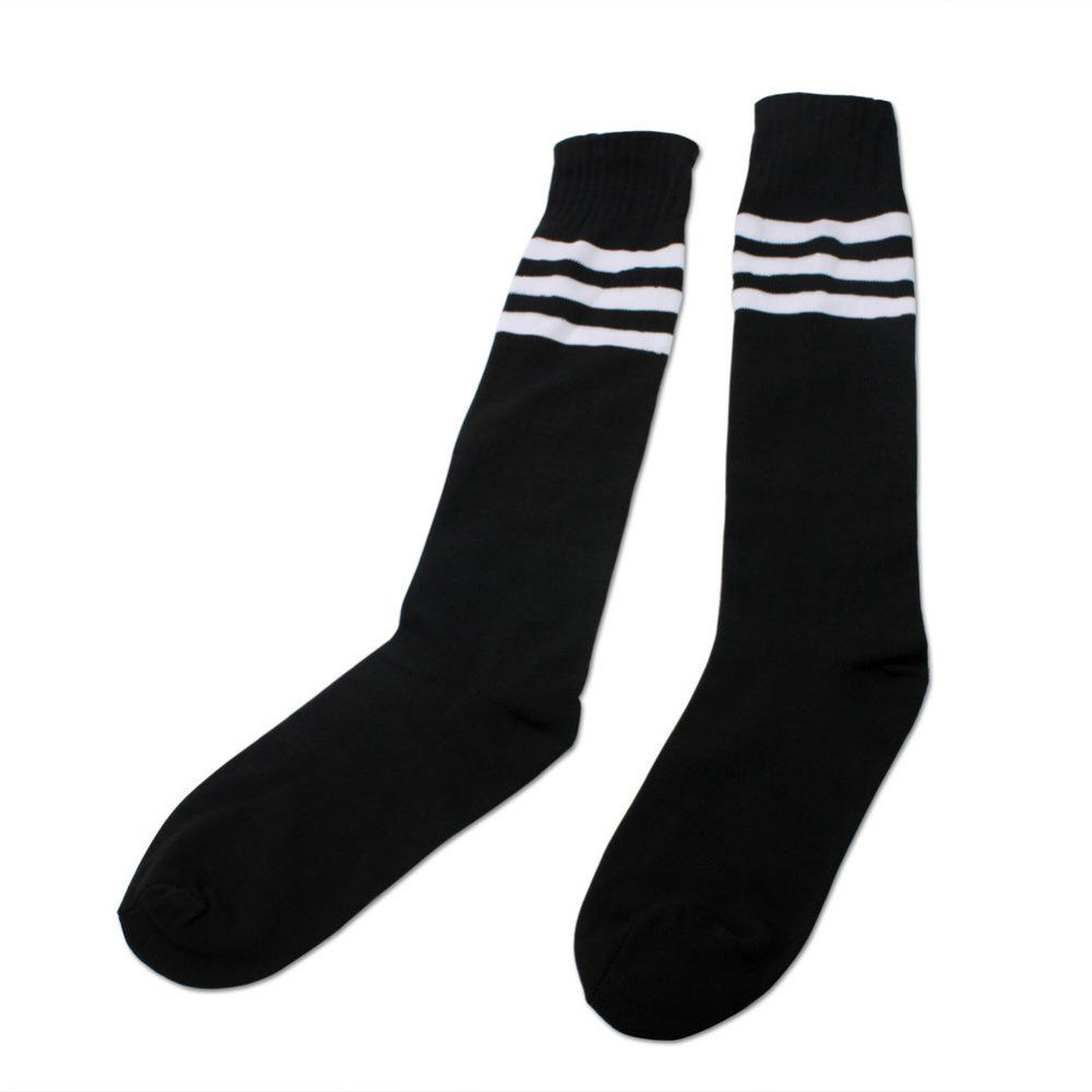1 Pair Casual Black Stripe Over Knee Socks Men Women Tube Long Sock Baseball Running Sport Black Hot
