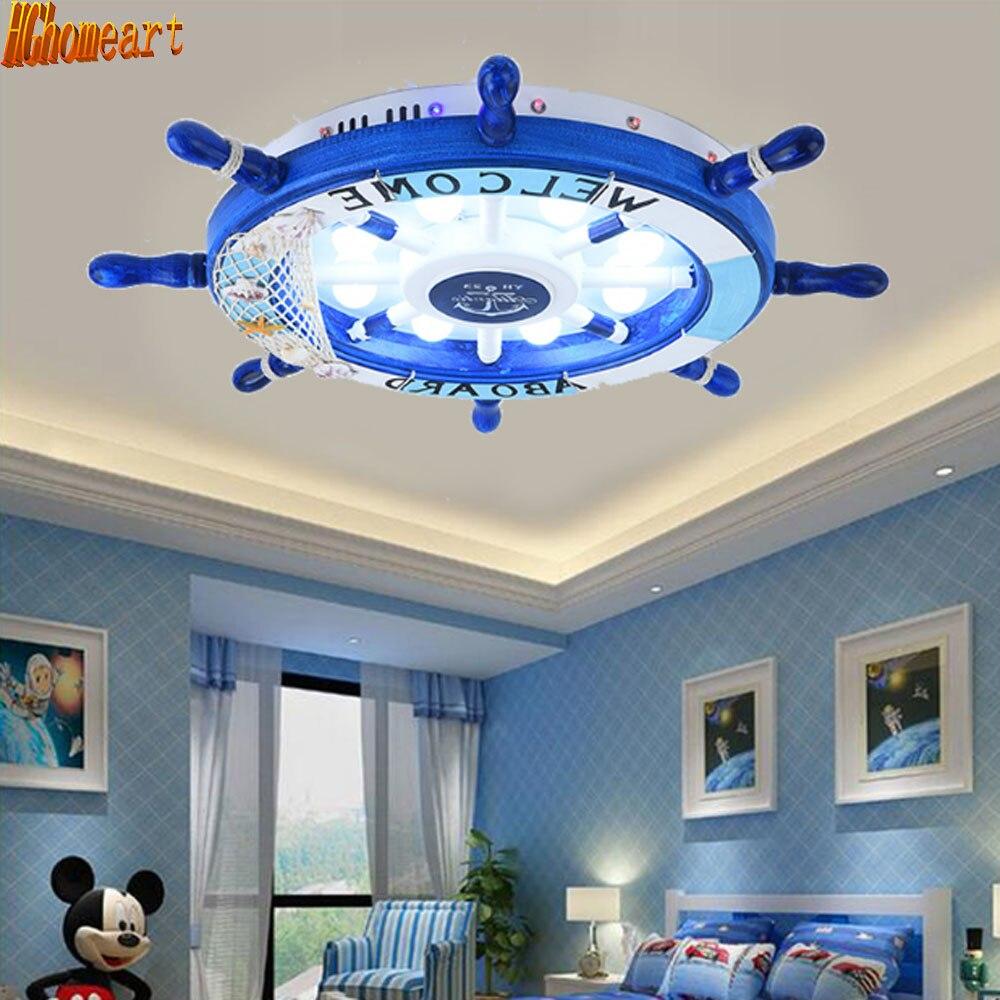 Mediterranean Style Cartoon Ceiling Light Children s Room LED Creative Rudder Baby Room Eye Protection Lamp