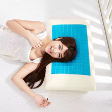 White Bed Pillow Cushion Blue Cooling