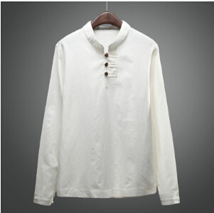 Mandarin Collar Shirts For Men White Linen Shirts Men Navy Long Sleeve Chinese Collar Shirts For Mens Stand Collar Shirt Linen