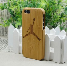 Free Shipping Basketball New Style Gifts Jordan Sports Real Natural Wood Bamboo Wooden Hard Combo Cover Case For Iphone 5 5G 5S