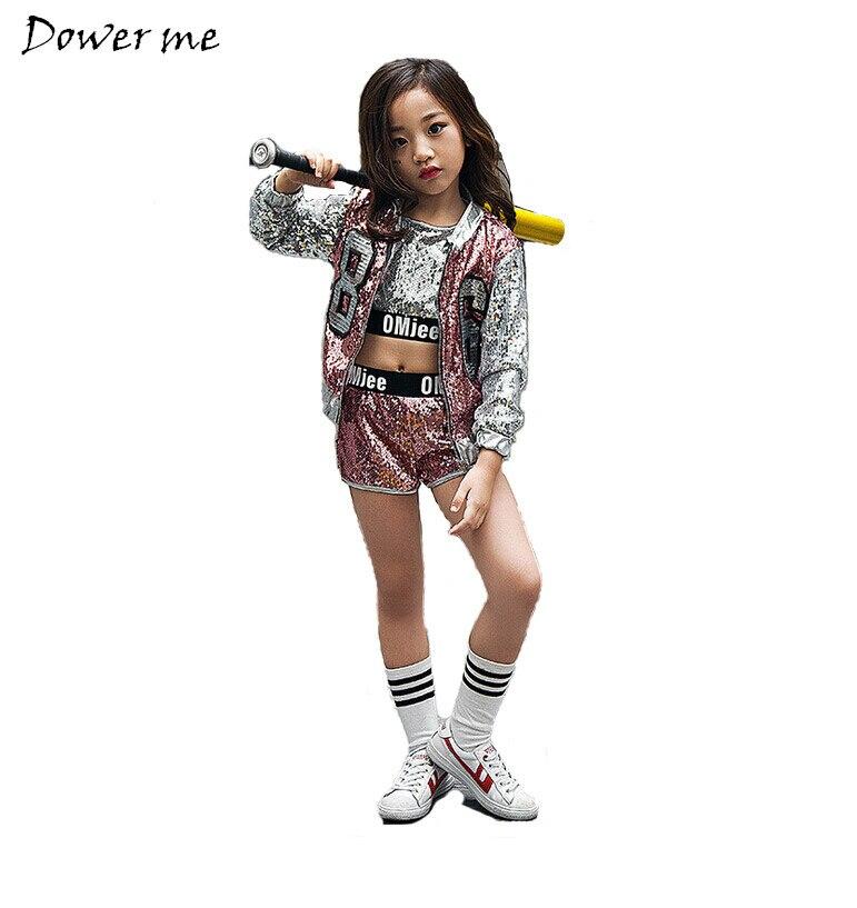 Kids Girl Sequin Dancing Costume Jacket Coat Crop Top Shorts Hip-hop Jazz Dance Clothes For Children Girls Street Dance Hip Hop