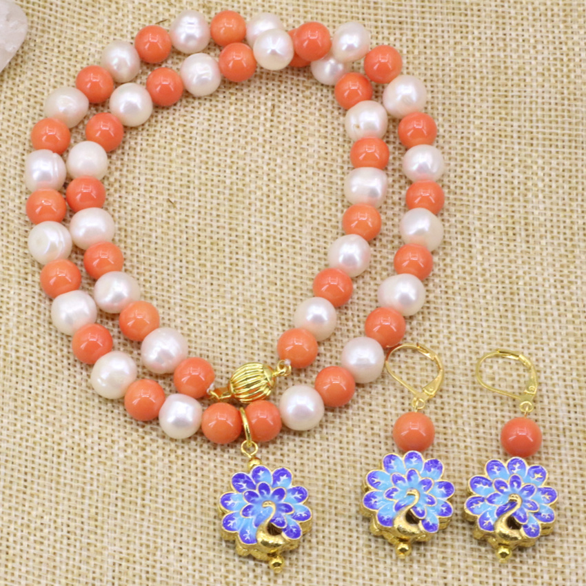 Natural White Pearl Chain Necklace Earrings For Women Jewelry Sets 8mm Orange Faux Coral Round Beads Choker Cloisonne 18