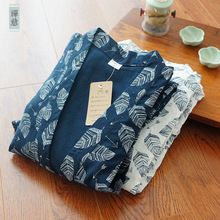 Mens sexy Leaves print 100% cotton kimono robe Spring simple bathrobes long sleeve SPA casual robes Japanese robes for male