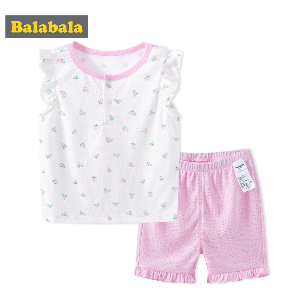 Balabala Newborn Baby girls Clothing set Short Sleeve Cotton T-shirt Tops +Geometric Pant 2PCS Outfit Toddler Kids Clothes Set camouflage newborn baby boys clothes infant kids casual t shirt tops pants 2pcs outfit children clothing set 0 24m