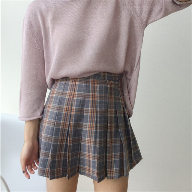 964e180abf 2019 Korean Vintage Fashion Plaid Women Skirts Pleated High Waist Female  Skirt Summer Street Style A