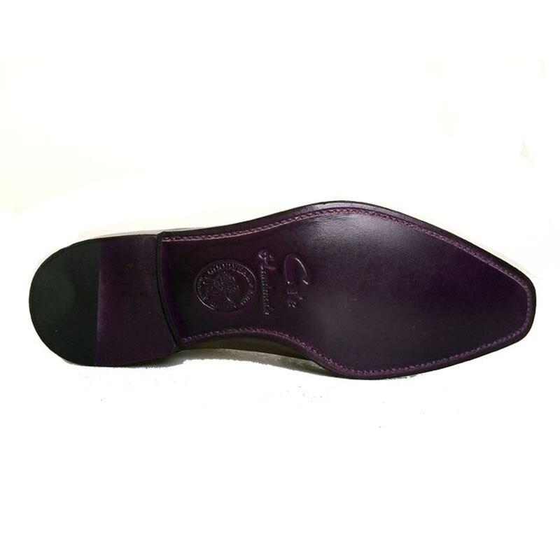 les hommes en cuir d'automne personnalisé fait à la main en cuir de veau respirant crins chaussures en cuir,noir,42